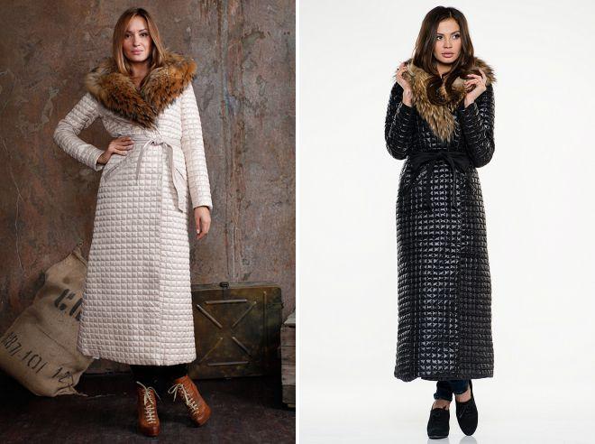 женское длинное пуховое пальто в пол