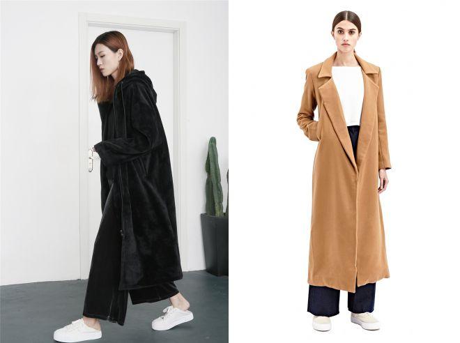 длинное пальто в пол из плюша