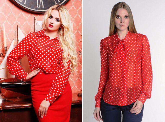 красная рубашка в горошек