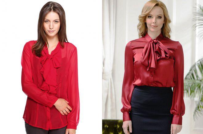 красная рубашка с бантом