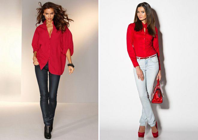 с чем носить женскую красную рубашку