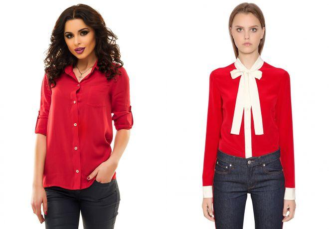 женская красная рубашка