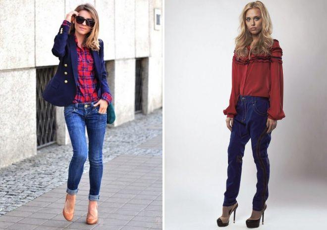 красная рубашка и джинсы
