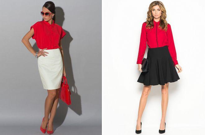 женский образ с красной рубашкой