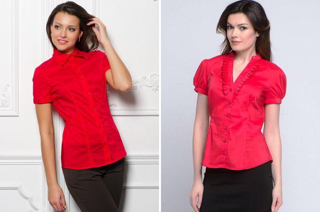 женские рубашки красного цвета