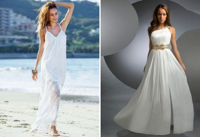 Белое легкое женское платье