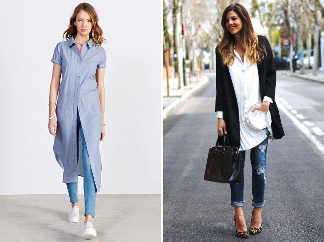 платье рубашка 2018 с джинсами
