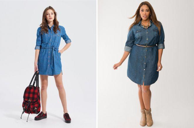 джинсовые платья рубашки 2018