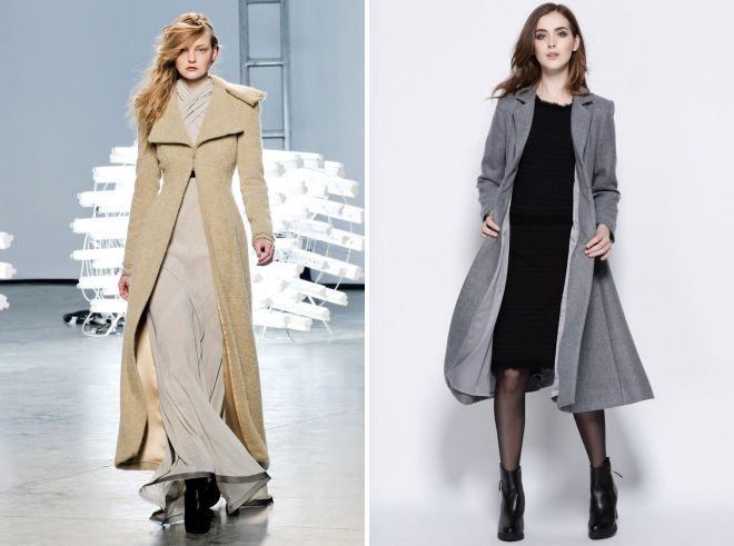 с какой обувью носить стильное пальто халат