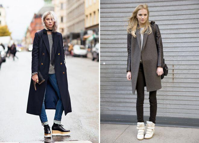 обувь сникерсы под пальто