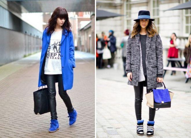 обувь сникерсы под современное пальто