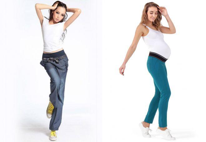 брюки с трикотажным поясом