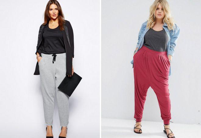 трикотажные брюки для полных женщин
