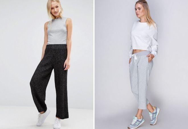 модные трикотажные брюки 2018