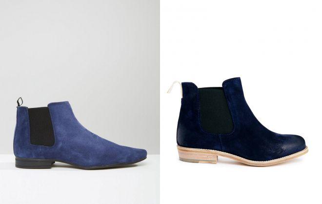 синие замшевые ботинки челси