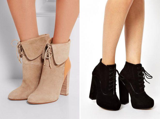 женские замшевые ботинки на каблуке