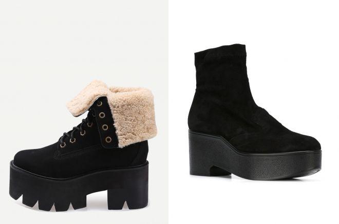 женские ботинки замшевые на платформе