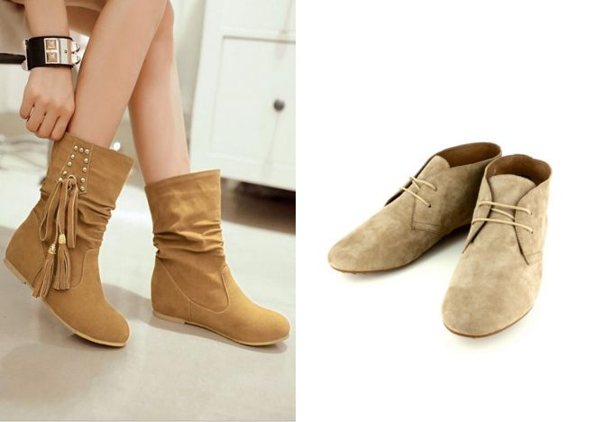 женские замшевые ботинки без каблука