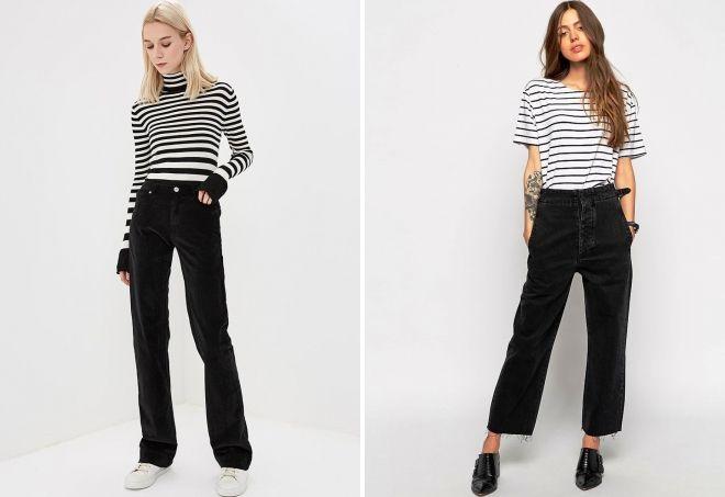 с чем носить черные широкие джинсы
