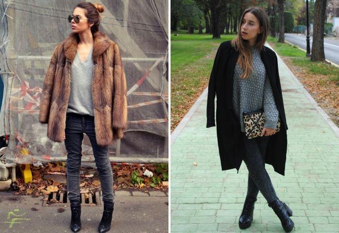 с чем носить серые джинсы зимой