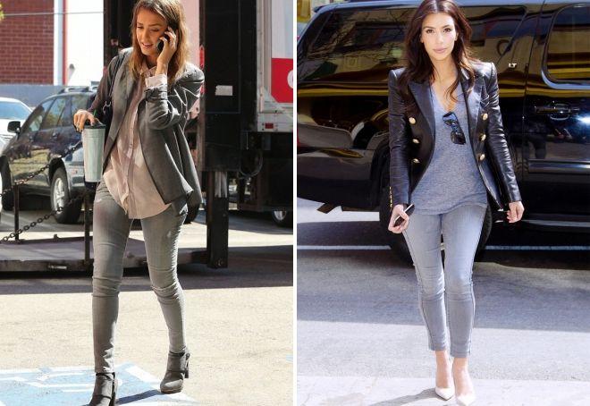 с чем носить женские серые джинсы