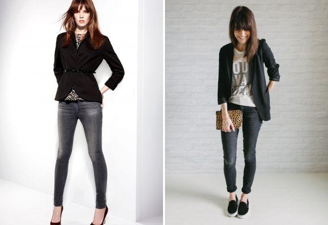 с чем носить женские темно серые джинсы