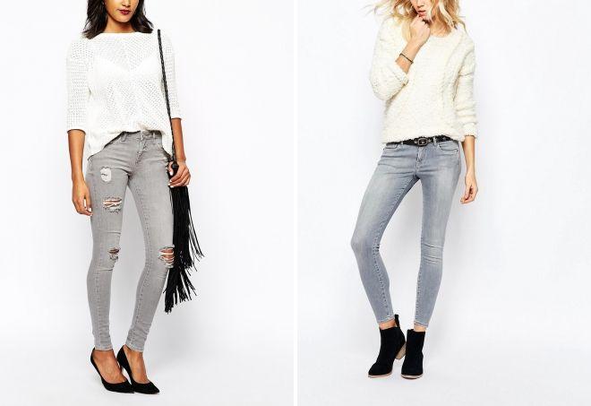 с чем носить серые джинсы женщинам