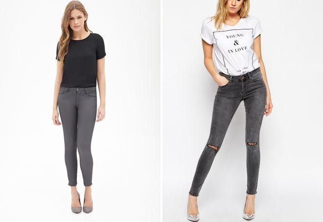 с чем носить серые джинсы скинни