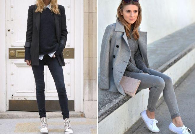 с чем носить узкие серые джинсы