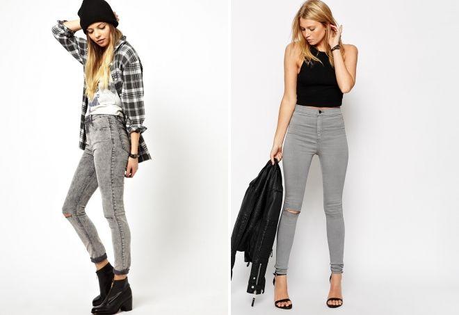 с чем можно носить серые джинсы
