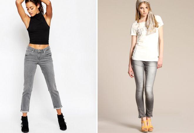 с чем носить серые прямые джинсы