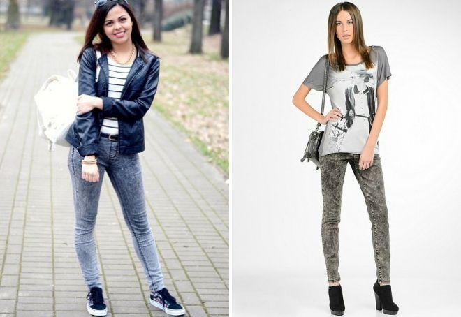 с чем носить серые вареные джинсы
