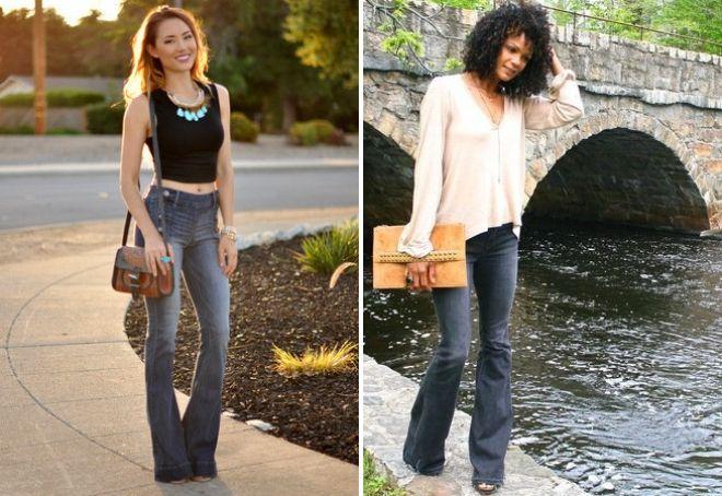 с чем носить серые джинсы клеш