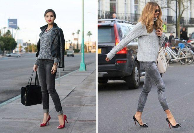 с чем носить серые потертые джинсы