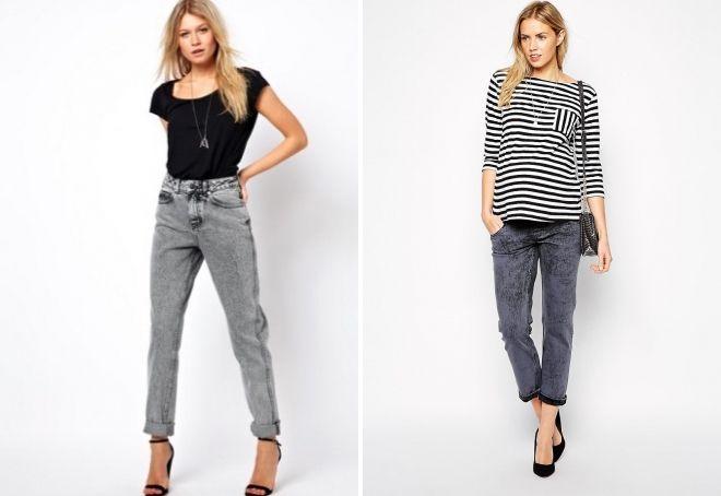 с чем носить серые джинсы бойфренды