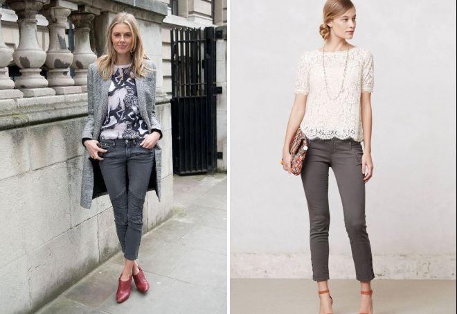 с чем носить укороченные серые джинсы