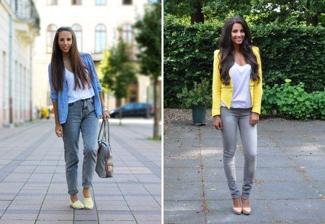 обувь к женским серым джинсам