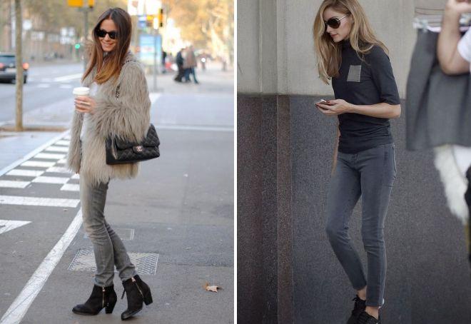 с чем носить женские серые джинсы 2019