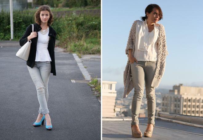 с чем носить серые джинсы женщинам весной