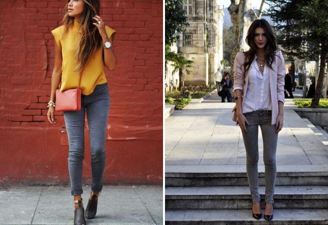 с чем носить серые джинсы летом