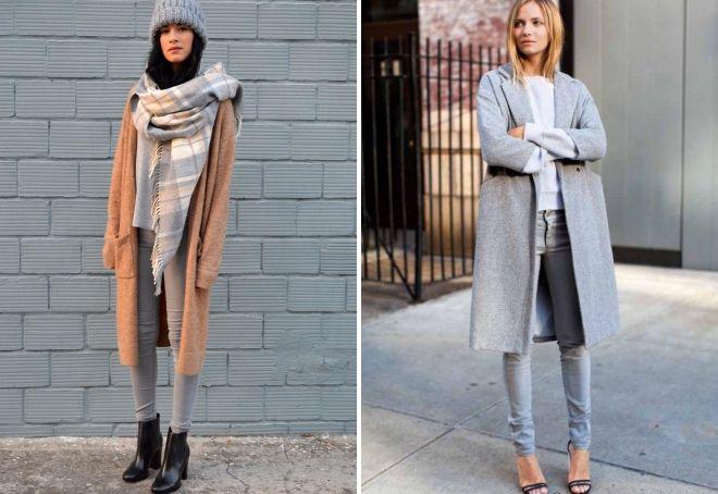 с чем носить серые джинсы осенью