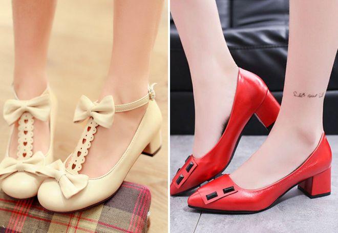 туфли на маленьком толстом каблуке