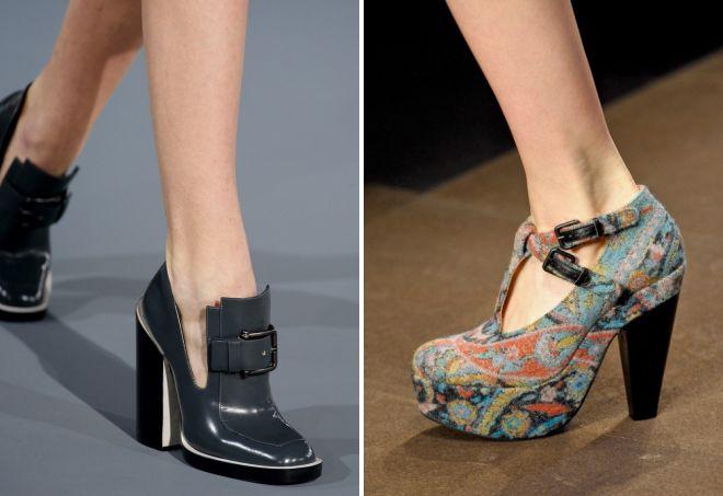 закрытые туфли на толстом каблуке