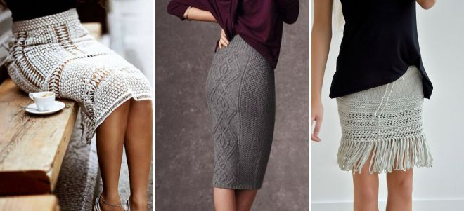 вязаные летние классические юбки
