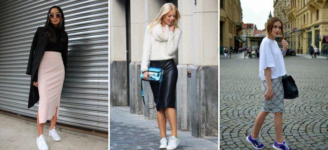 классическая юбка с кроссовками