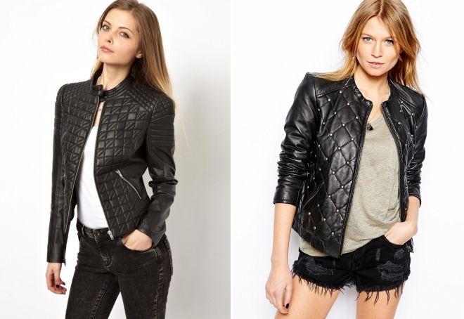 женская стеганая кожаная куртка