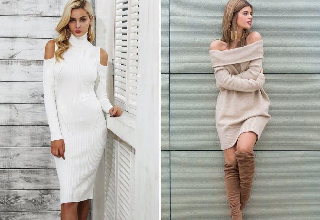 9ad18b5e540 вязаное платье свитер с открытыми плечами