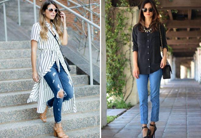 длинная рубашка с джинсами