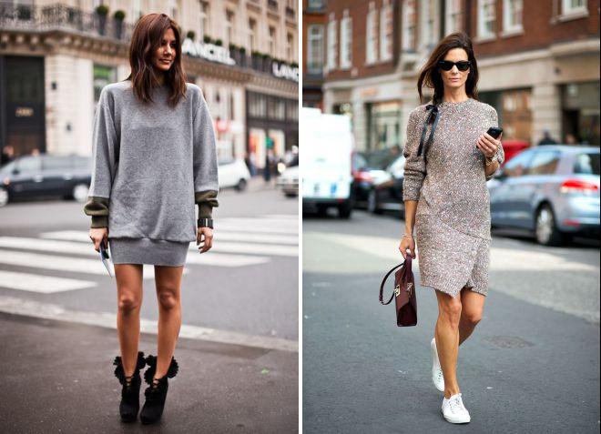 с чем носить длинный свитер