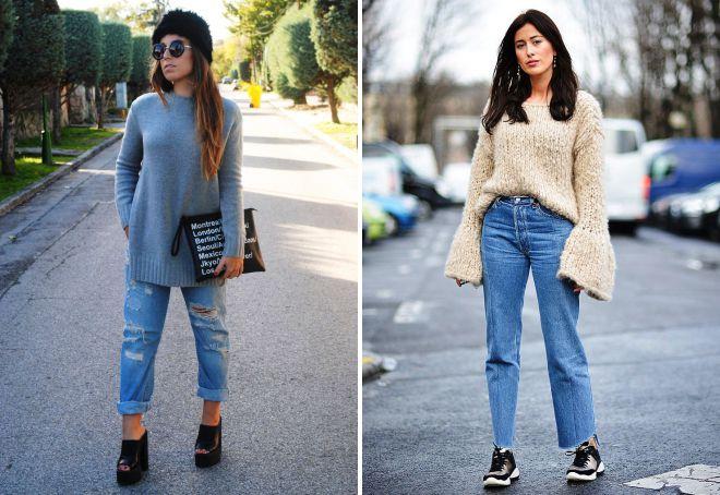 джинсы с длинным свитером